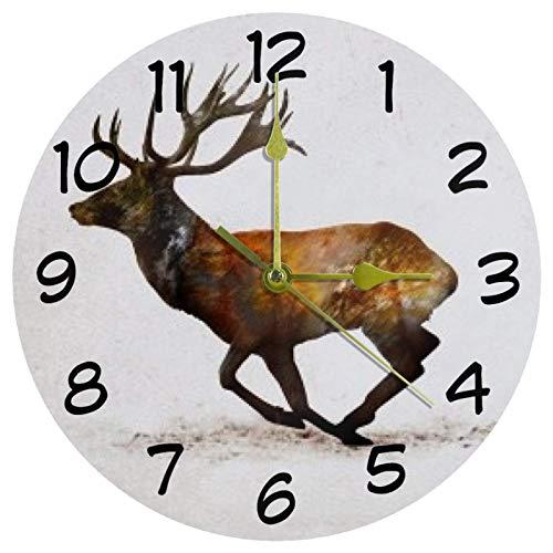Eslifey Sprint Elk Reloj de pared redondo funciona con pilas, para dormitorio, sala de estar, cocina, baño, oficina, escuela