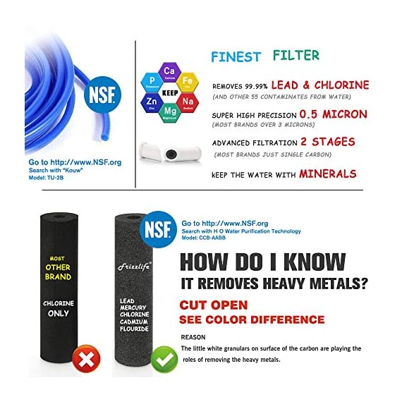 """Frizzlife Under Sink Water Filter-NSF/ANSI 53&42 Certified Drinking Water Filtration System-0.5 Micron Removes 99.99… 3 【Two-Stage Advanced Water Purifier with 0.5 Micron】: The Frizzlife MP99 Water Filtration System include a TWO-STAGE High precise compound filter, which has a unique technology that removes over 99.99% of contaminants while leaving in all essential minerals. Eliminates Lead, Heavy Metals, Chlorine, Chromium 6, Mercury, Rust, Volatile Organic Compounds, Carcinogens, and other contaminants, such as Turbidity, Ordors and Bad Tastes. enjoy pure and healthy water from the tap. no more bottle water! 【Dedicated Faucet & Brass Feed Water Adapter Valve Included】: Frizzlife Undersink water filtration system includes a dedicated stailess steel faucet that can installed in most sinks providing cleaner filtered water for cooking or drinking. NO plumbing required, it come with 3/8"""" compatible brass feed water adapter, brackets and STEP-TO-STEP Installation manual, you can mount the water filter as you wish within 10 minutes. 【Best Auto Shut Off Design】: Utilizing quick change twist-in installation design makes it take less than 3 minutes for you to install the system or doing a filter replacement. Provides for easy, tool-free, no mess filter replacement. The filter cap is designed with BUILT-IN shut off valve. You don't even need to shut off the water supply whenever you work on the filter cartridge replacement."""