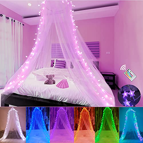 Bed Canopy with LED Star Lights, Mosquito Net for Bed with 18 Colors Changing String Lights Remote Timer for Girls, Kids Bedroom, Pink Red Blue White Dome Canopy Bed Curtain for Single to King Size
