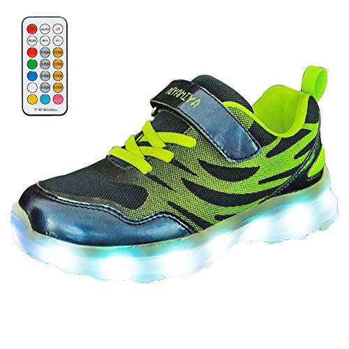 Zapatillas de Led Niña, 7 Colors USB Carga Luz Luminosas Flash Deporte de Zapatillas con Luces, Verano Otoño Zapatos para Correr RespirablesB-36