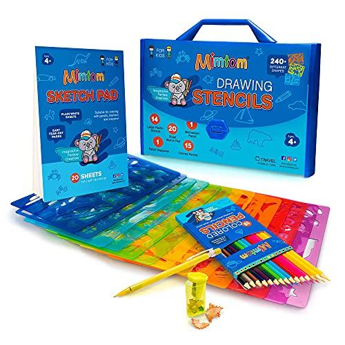 Mimtom Plantillas de Dibujo Kit de Manualidades para niños y Chicos con 240 Figuras   Plantillas para Pintar Que desarrollan...