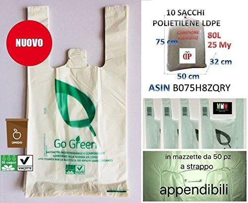 Scatola da 1000 shopper mini biodegradabili compostabili cm 22+12x40 da grammi 5 ideali per raccolta umido o asporto +10 sacchi trasparenti in