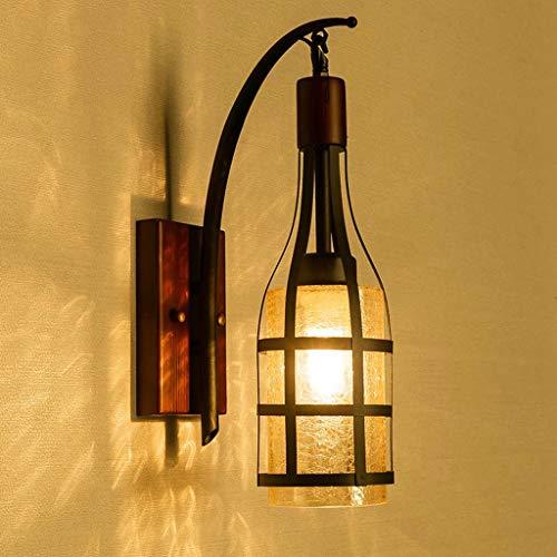 Vintage fer bois massif art bouteille de vin lampe de mur intérieur art décoratif lampe décorative chambre lampe de chevet couloir/escaliers/cour porte mur lampe d'éclairage