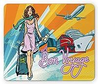 空港の長方形のマウスパッド、レトロな漫画本の描かれた女性の乗客および交通機関の技術、滑り止めのゴム製バッキングマウスパッド、多色