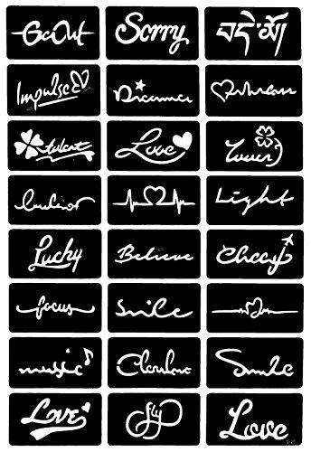 Tattoo Schablonen Vorlagen mit 24 Schablonen auf ein Bogen Nr. 25