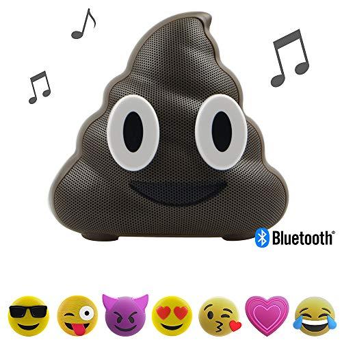 Jamoji Bluetooth Lautsprecherbox (für Kinder, Scheißhaufen, kabellose Lautsprecher mit integriertem Mikrofon, AUX-Anschluß, Micro-USB Anschluß, akkubetrieben mit 6 Stunden Laufzeit, Emoji, Smiley)