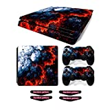 Decal Skin for Ps4 Slim, Whole Body Vinyl Sticker Cover for Playstation 4 Slim Console and Controller (Include 4pcs Light Bar Stickers) (PS4 Slim, Magma)