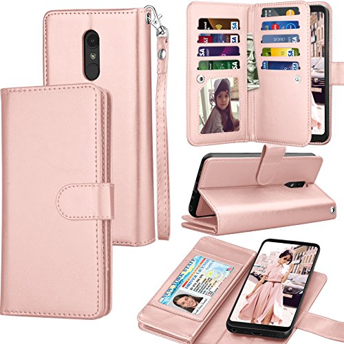 Tekcoo Wallet Case for LG Stylo 4 / LG Q Stylus/LG Stylo 4 Plus, PU Leather ID Cash Credit Card Slots Holder Purse Carrying Folio Flip Cover [Detachable Magnetic Hard Case] & Kickstand - Rose Gold