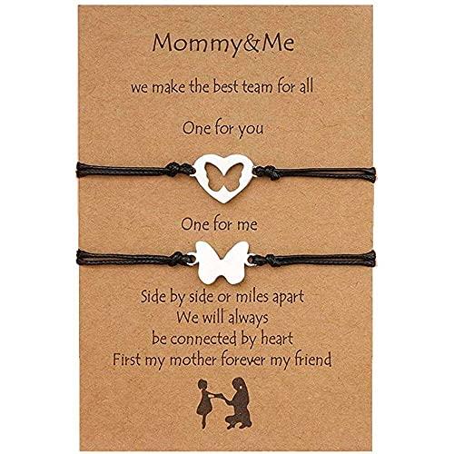 chaosong shop 2 pulseras de mamá y mí, para madre e hija, distancia a juego con mariposa, corazón hueco, deseos, ajustable, para el día de la madre, regalo de joyería para mujeres, mamá e hija