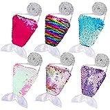 FT-SHOP Porte-Monnaie à Paillettes pour Petites Filles Mini Queue de Sirène Sequins Sac Bandoulière Filles avec Sangle pour Filles Gamins Faveurs de fête d'anniversaire 6 Pièces
