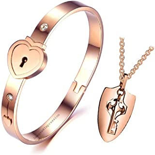 Impression Men's and Women's Couple Heart Lock and Key Stainless Steel Cubic Zirconia Bracelet Pendant Necklace Set for Lo...
