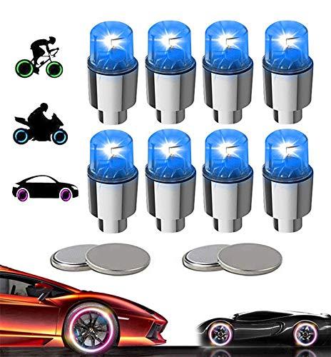 KYECOCO 8 Stück LED Ventilkappen Fahrrad Reifen Beleuchtung Speichenlicht Fahrrad Ventilschaftkappe Licht Autozubehör für Fahrrad Auto Motorrad oder LKW mit 10 Zusätzlichen Batterien (Blau)