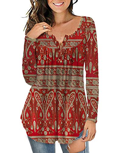 a.Jesdani Women's Plus Size Blouses Henley Shirts Buttons Up Tops Multi Red 2XL