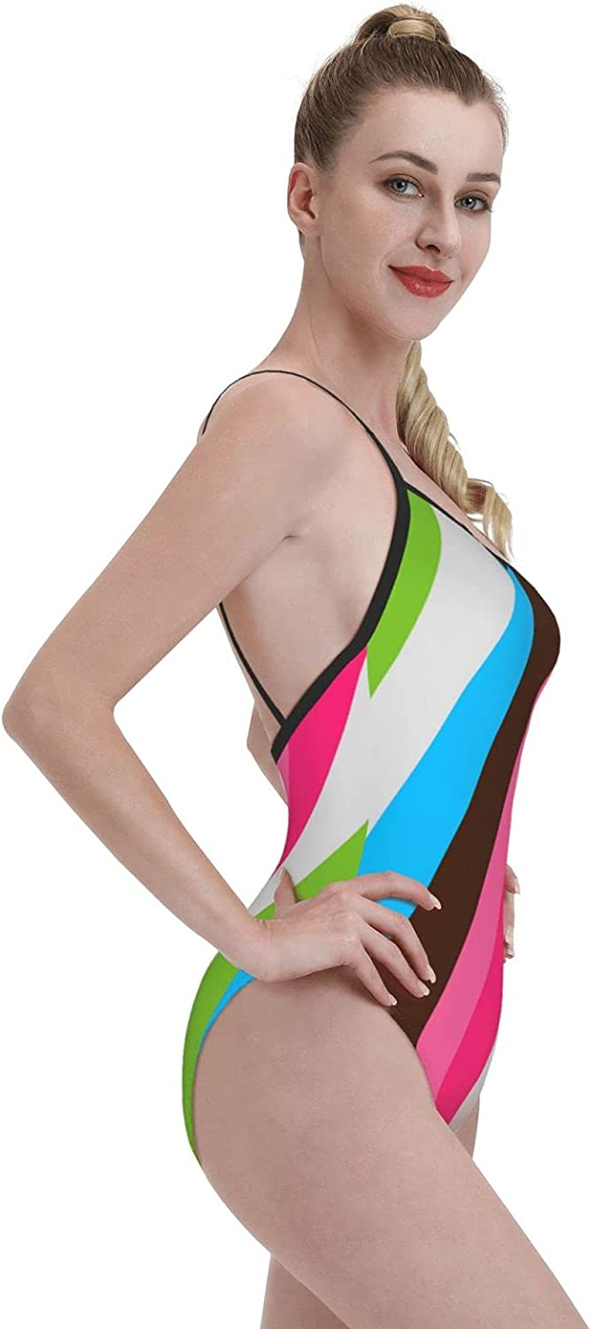 Wan & Ding Women's One-Piece Swimsuit Sports Fashion-Colorful Colors Black