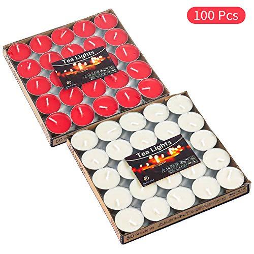 mreechan Teelichter,100er Kerzen(Weiß und rot),rauchfreie Teelichter,Stimmungskerzen für Geburtstag, Vorschlag,Hochzeit,Party, Rot, Hochzeit Verlobung, Valentinstag