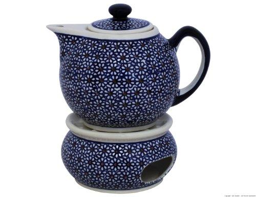 Original Bunzlauer Keramik - moderne Teekanne mit Stövchen 1.00 Liter im Retro-Dekor 120