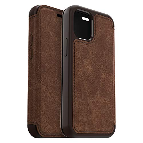 OtterBox Strada Series Case for iPhone 12 Mini - Espresso (Dark Brown/Worn Brown Leather), 77-65898
