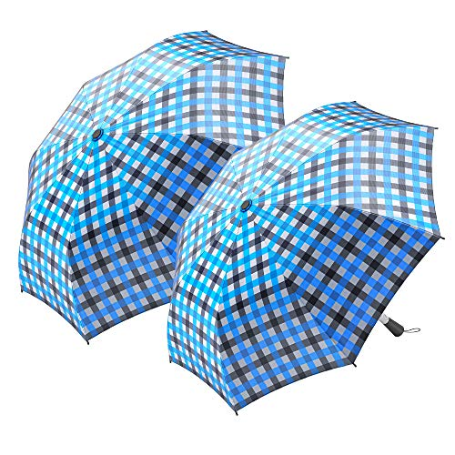 """2-Pack Nautica 2-Person Auto Open Umbrella - Sturdy Rainy Day Protection with Ergonomic Handle, 56"""" of Coverage in Blue"""