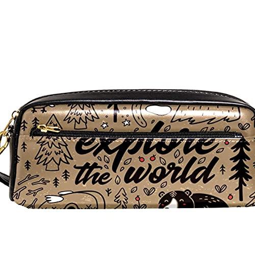 Étui à crayons Marqueur Sac à stylo Boîtes d'organisation de bureau Ours animal dans la forêt Pochette de rangement