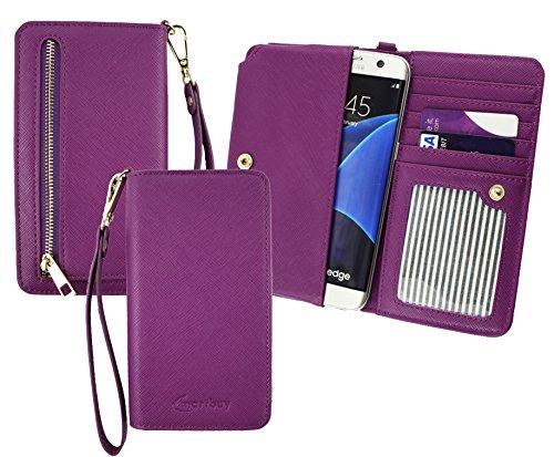 Emartbuy® Lila PU Leder Kupplung Geldbörse Hülle Tasche sleeve ( Größe 3XL ) Mit Münzfach, Kartensteckplätze & Abnehmbare Handschlaufe Geeignet Für Elephone S3 Lite