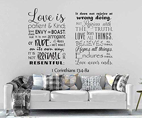 pegatinas de pared vinilo Tatuajes De Pared Corintios El Amor Es Paciente Cree Todo Lo Que Espera Todo Lo Que Aguanta Todo Lo Que El Amor Nunca Termina