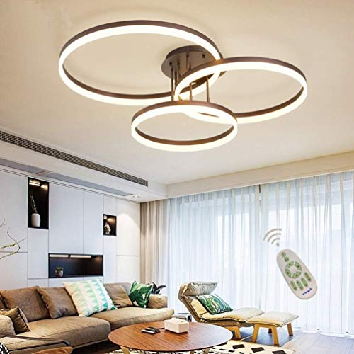 LCTCXD LED 3 Anillo Diseñador luz de techo, regulable 3000K-6000K montar los accesorios de iluminación alejado Flush lámpara colgante, Mesa de comedor de acrílico del techo de la lámpara (color café)