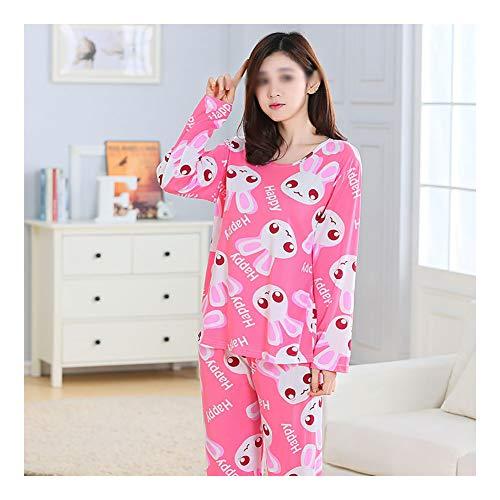 LASIMAO Pijamas de algodón Set para Mujer, Traje de Manga Larga de Manga Larga, Ropa de Dormir Casual, Conjunto de Ropa de Dormir de Dibujos Animados de Cuello Redondo cómodos,A,M