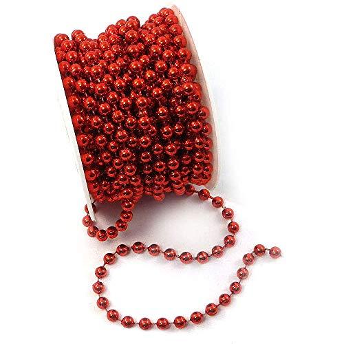 WELLXUNK Perlen Girlande, Perlenschnur Weihnachten, Perlengirlande Weihnachten, für Perlenschnur Tisch Deko Perlenkette Hochzeitsdeko (Rot)
