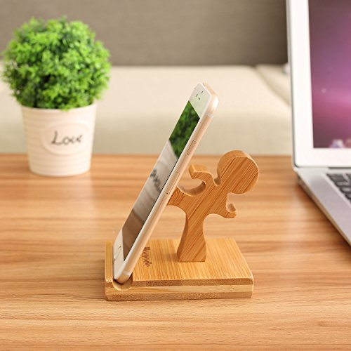 Homode Cell Phone Stand, Bamboo Wood Phone Holder and Cute Phone Stand Compatible with iPhone 11 Pro X Plus 8 7 6, Ipad and Tablets, Bamboo Desk Organizer Accessories (Kung fu)