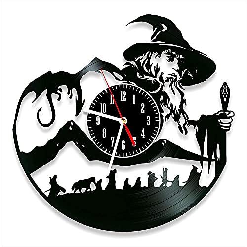 jjyyy Seigneur des Anneaux Horloge Murale en Vinyle Style rétro Horloge Murale muet décoration de la Maison Art Unique caractéristiques Accessoires pour la Maison Cadeaux personnalisés créatifs