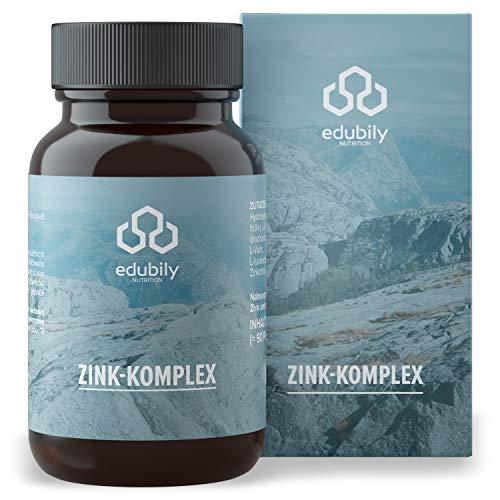 edubily® Zink Kapseln für 90 Tage • 3-Fach Formel aus Zinkbisglycinat, Zinkcitrat und Zinkglukonat • 90 Kapseln in Braunglas zu 100% Recyclingfähig