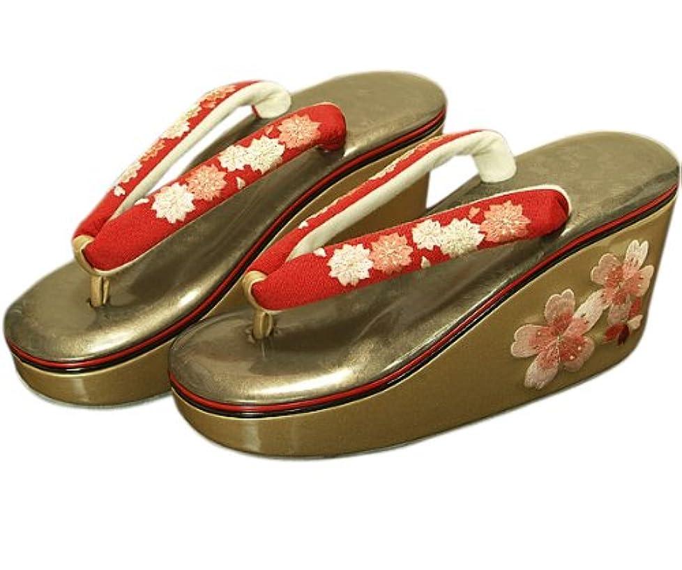 アッティカス規模孤児[ 京都きもの町 ] ヒール 草履 振袖用 刺繍 草履 赤×ゴールド 桜