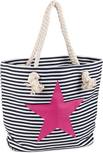styleBREAKER Strandtasche in Streifen Optik mit Stern, Schultertasche, Shopper, Damen 02012037, Farbe:Marine-Weiß/Pink
