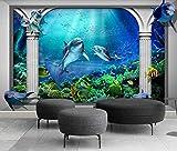 Papel Pintado 3D Murales 150x105 cm Acuario Marino Columna Romana Delfín Fotomurales Decorativos Pared 3D Modernos Foto Mural Pared