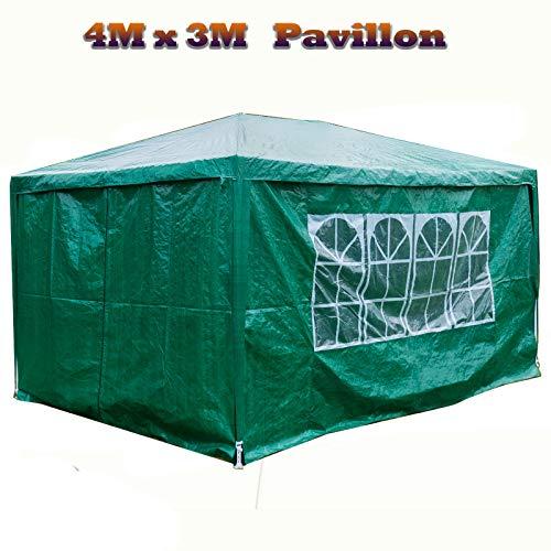 Autofather 3 x 4 m Wasserdicht Garten Pavillon mit Seiten Festzelt Wasserdicht Zelt mit 4 Seitenteilen für Outdoor Hochzeit Gartenparty (Grün)