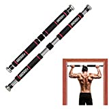 ONETWOFIT Door-Frame Pull-Up Bar, Wide Grip Heavy-Duty Metal and Foam Chin-Up Pole, Adjustable Great for Home Gyms, Fitness and Training HK664