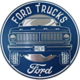 HangTime Ford Truck Sign, Vintage Metal Decor with Classic Old F-Series Pick-Up, 12 Inch Round Wall Art
