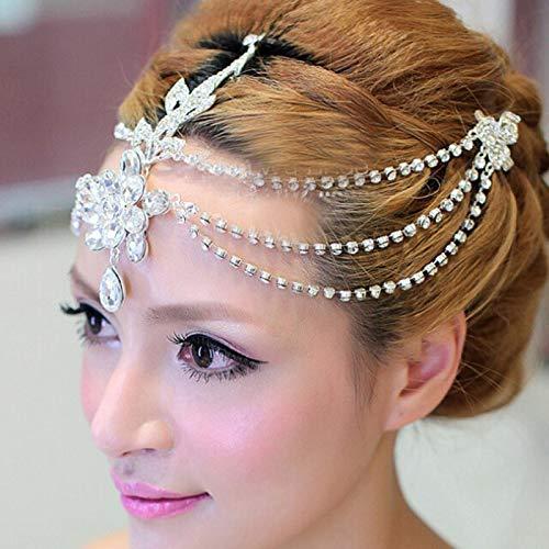 XKMY Pines para el pelo de novia cristal transparente colgante frente diadema...