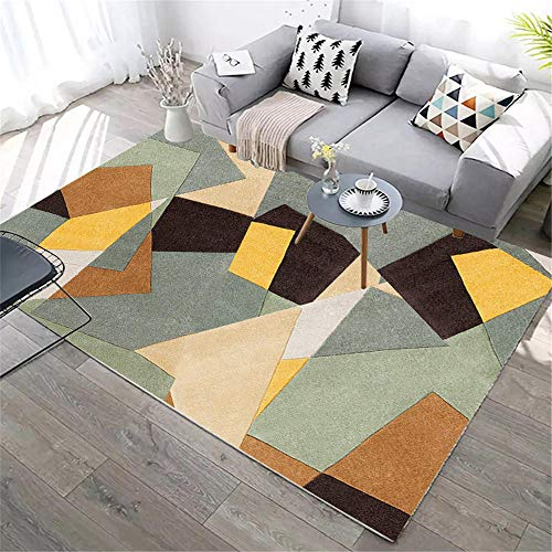 abitacion Juvenil Alfombra de salón Rectangular Verde marrón Resistente a la Suciedad y a la Humedad Decoración Interior alfombras alfombras 80X200CM 2ft 7.5' X6ft 6.7'