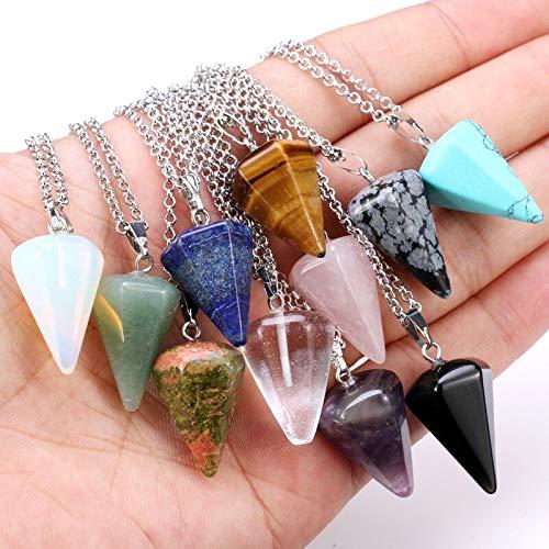 YYSD Péndulo de Reiki, Amuleto de Piedra Natural, Colgante de Cristal de Ojo de Tigre curativo, péndulos hexagonales de meditación para Hombres y Mujeres, joyería