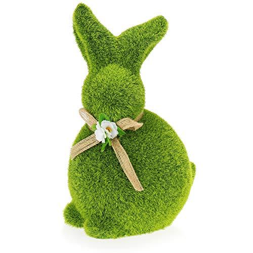 com-four® Dekofigur Osterhase mit Schleife - grüne Hasenfigur aus Keramik - mit Hasenfell aus moosähnlichem Kunstrasen - Osterdeko [Auswahl variiert] (1 Stück Hase 23cm grün)