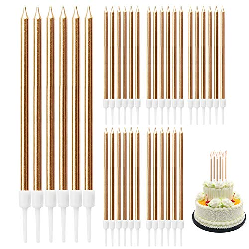 Tarta de cumpleaños con velas de colores doradas y largas, para 36 cumpleaños, para tartas de bodas