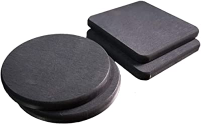 珪藻土 コースター スクエア 円形 コースター 吸水 速乾 耐熱 滑り止め珪藻土マット ブラック 4枚セット (2枚丸型+ 2枚スクエア)