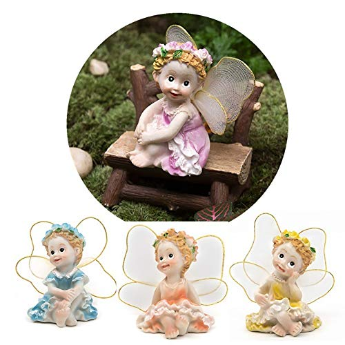 FEIDA Parure Jardin Miniature Ornements 4 pcs/lot Fairy Garden DIY Fleur Anges Ornement Miniature Décor Résine Figurines