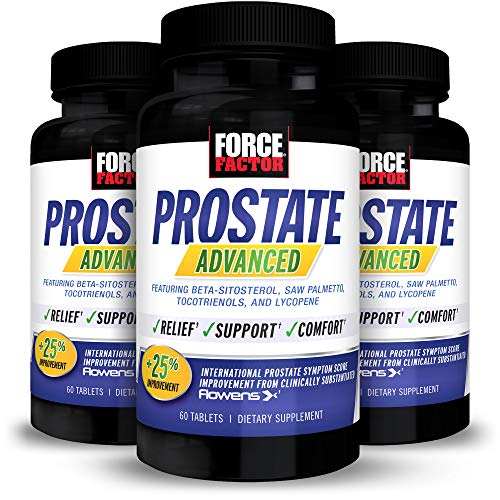 Force Factor Prostate Advanced, Health Supplement for Men for Reducing Nighttime Bathroom Trips, Bladder & Urinary Relief, with Saw Palmetto, Beta-Sitosterol, 180 Tablets (3-Pack)