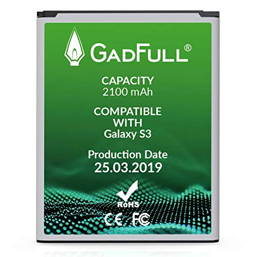 GadFull Battery Compatible with Samsung Galaxy S3 | 2019 Production Date | Corresponds to The Original EB-L1G6LLU | Compatible with Galaxy S3 i9300 | S3 LTE i9305