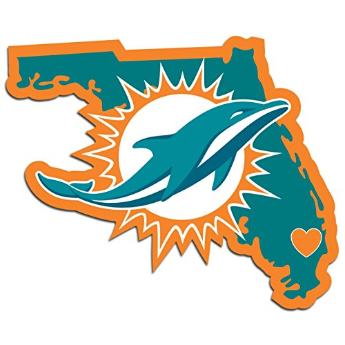 NFL Siskiyou Sports Fan Shop Miami Dolphins Home State Decal One Size Team Color