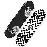 KHSKX Patineta para Principiantes Tabla de Skate Completa de 31 Pulgadas patineta de Arce de 7 Capas Adecuada para niños y niñas Adolescentes Adultos-Alas de ángel de Tendencia en Blanco y Negro