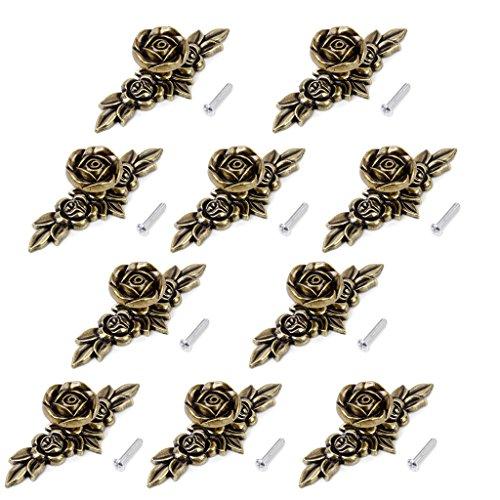 Baoblaze 10 Piezas Tirador de Armario Tirador de Cajón Perilla de Rosas Hardware de Cocina Bronce Antiguo