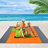 OVINESY Beach Blanket Waterproof Sandproof, 83'X79' Oversized Beach Mat for 4-7 Adults, Durable Beach Blanket with Stakes, Lightweight Sand Free Beach Blanket for Travel/Camping/Picnic/Hiking-Orange